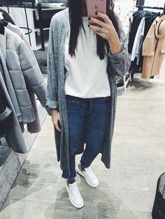 Achers grey melange cotton one size maxi cardigan