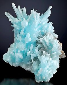 Sky-blue Aragonite with Aurichalcite, Hunan Province of China.