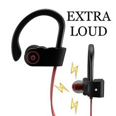 ﹩22.79. Bluetooth Headphones LOUD Best Wireless Sports Earphones Crystal Clear Music    Color - Red, - Bluetooth, Connector(s) - BLUETOOTH ONLY, EXTRA LOUD - CRYSTAL CLEAR BLUE TOOTH HEAD PHONE, Type - Earbud Strap, GYM HEAD PHONES - LOUD MUSIC HEAVY WEIGHTS FITNESS HEADPHONES, BLUETOOTH HEADPHONES - Blue Tooth Head Phones Extra Loud, Comfortable Fitting Ear Piece - Ear Clip Prevents them from falling out