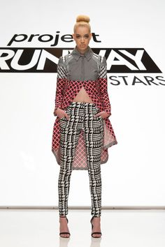 Dom Streater look from episode 8 of Project Runway All Stars Season 5Multi Print separates (Black White and Red) – Designer DomAccessories do not come with the clothing