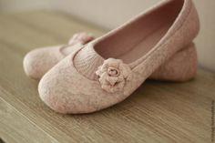 """Купить """"Танго"""" туфельки балетки валяные. - бледно-розовый, розовый, розы, нежный, воздушный, винтаж"""