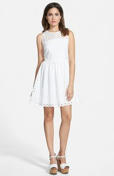 Painted Threads Eyelet Skater Dress (Juniors) available at  Nordstrom White Skater  Dresses 1d7de79b5