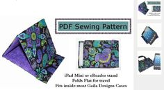 This free pdfsewing pattern from Gaila Designswill take you step-by-step through the construction and sewing of this tablet or iPad stand. Every step is described and a full color photograph is provided to illustrate the step. Noassumptionsof skill are made (other than operating your sewing machine!) and each step is brief and logically stated in large print. A great beginner's sewing project and a great gift idea. Get the Free PDF Pattern