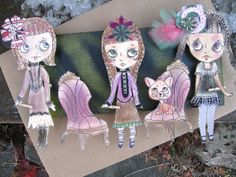 Steampunk Paper Doll Mixed Media Pop Art OOAK by cindysowers