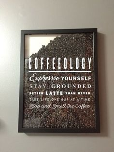 Coffeeology Coffee Lover Vinyl Decal / Sticker - shadow boxes and more . - Coffeeology Coffee Lover Vinyl Decal / Sticker – Shadow Boxes and More – Wall Quote – - Coffee Bar Home, Home Coffee Stations, Coffee Corner, Coffee Is Life, Office Coffee Station, Coffee Bar Design, Licht Box, Coffee Quotes, Wall Quotes