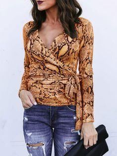 060ca859a3d Long Sleeve T Shirt Snake Print V Neck Sash Wrap Top For Women  Snake