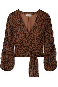 0e86194af122e9 Nicholas - Ruched leopard-print silk-chiffon wrap top