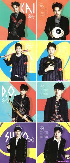 Exo's 2014 Calendar (2/3) : Kai, Chanyeol, D.O., Suho
