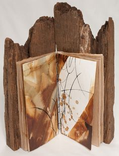 Birgit Nass handmade mixed media book with wood for cover, mark making on pages