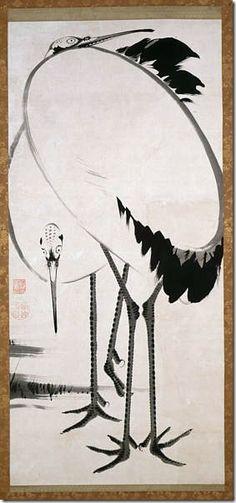 Jakuchu ITO (1716~1800), Japan 双鶴図 http://www.pc.blogspot.jp/2009/03/cranes-ito-jakuchu.html