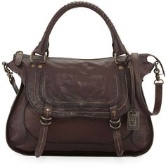 Frye Anna Hammered Leather Satchel Bag (469.055 CLP) ❤ liked on Polyvore