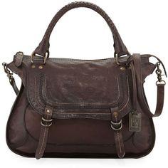 Frye Anna Hammered Leather Satchel Bag ($648) ❤ liked on Polyvore