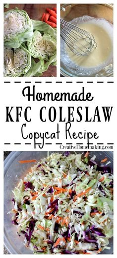 Seriously the best coleslaw you've ever tasted. This easy recipe tastes just like KFC coleslaw! One of my favorite food ideas for a Labor day bbq! Healthy Cooking, Cooking Recipes, Healthy Recipes, Easy Cooking, Delicious Recipes, Homemade Coleslaw, Sweet Coleslaw Recipe Kfc, Easy Coleslaw Recipe Healthy, Copycat Kfc Coleslaw