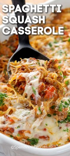 This simple spaghetti squash casserole is one of our favorite weeknight casserole recipes. It is bursting with flavors, healthy, and low carb! essen Spaghetti Squash Casserole - Spend With Pennies Healthy Casserole Recipes, Casserole Dishes, Vegetarian Recipes, Cooking Recipes, Healthy Recipes, Casserole Ideas, Dinner Casserole Recipes, Weeknight Recipes, Dining