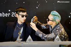 T.O.P (탑) and G-Dragon (지드래곤) of Big Bang.