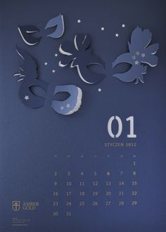 """Cut Out"" Wall Calendar by TOFU STUDIO, via Behance"