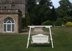 Accoya Heart Back swing seat photographed at Forde Abbey