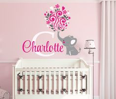 Elephant Custom Name Personalized Initial Wall Decal Sticker for Nursery, Girl's Room or Playroom, Nursery Monogram