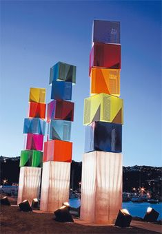Wellington Art Icons - Urban Forest, Wellington, New Zealand. The brightly coloured cubes spin in the wind Wind Sculptures, Sculpture Art, Wellington New Zealand, Beef Wellington, New Zealand Cruises, Chatham Islands, City Branding, The Beautiful Country, Public Art