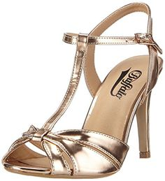Buffalo 312702 Metallic Pu, Women's T-Bar Sandals T Strap Heels, Strappy Heels, High Heels, Shoes Heels, Pretty Shoes, Beautiful Shoes, Cute Shoes, Golden Sandals, Everyday Shoes