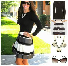Working Classy in Signature Black outfit includes skirt, seamless top, necklace set, and sunglasses. Pair this with cute black pumps + a tote!