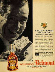 """Today's vintage ad features Belmont Bourbon circa 1938 – """"A Hearty Bourbon made from the rich, tender hearts of the grain!""""."""