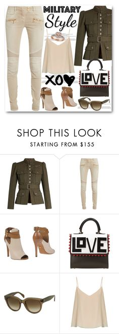 """""""Military Jacket"""" by stylish-sparkles ❤ liked on Polyvore featuring Marc Jacobs, Balmain, Sergio Rossi, Les Petits Joueurs, CÉLINE and Raey"""