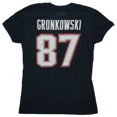 Official New England Patriots ProShop - Ladies Gronkowski Fair Catch V Tee-Navy