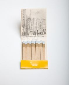 Krista Charles does drawings on old matchbooks of what the current Google street view looks like of the address on the matches - LOVE them! How could we show these in a gallery??
