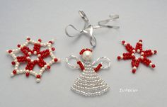Christmas ornaments, angel, snowflake, window decorations, white, red, silver, Xmas decorations, red ornaments, silver decorations, set of 3 by EvAtelier1 on Etsy