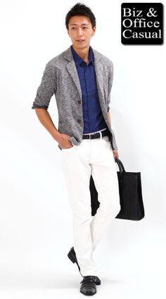 麻七分袖ドットシャツ×ジャケット×ホワイトパンツ biz14ss_3284 - メンズビジネスカジュアル(ビジカジ)通販