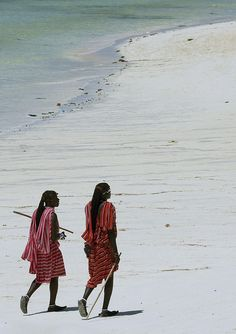 Masai men on a beach in Zanzibar, Tanzania