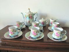 Antique China Tea Set 15 Pc Set  Red Letters RS Encircled by a Wreath