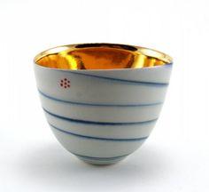 """Rainbow' s end#9"": Vessel, 9cmx10cmx7.5cm, translucent porcelain,  celadon, gold,  enamel, Johanna Demaine"