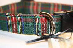 green and red tartan plaid collar