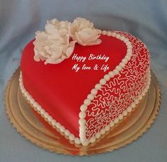 Cake Design added a new photo. Birthday Cake Write Name, Sweet Birthday Cake, Birthday Cake Writing, Cake Name, Happy Birthday Cakes, Birthday Wishes, Heart Shaped Cakes, Heart Cakes, Heart Shaped Birthday Cake