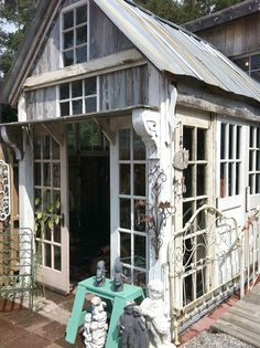Garden Shed made out of salvaged pieces. (SuzAnna's Antiques Raleigh, NC) - Garden Shed made out of salvaged pieces. (SuzAnna's Antiques Raleigh, NC) - Shed Design, Garden Design, Design Design, Roof Design, Outdoor Rooms, Outdoor Living, Outdoor Sheds, Gazebos, Arbors