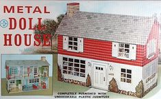 Above we see the original packaging for a mid-century metal dollhouse; they came complete with wall treatments and unbreakable plastic furniture!
