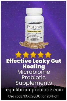 The most effective leaky gut healing microbiome probiotic supplements. Heal leaky gut syndrome and other intestinal issues with effective microbiome vegetarian multi-strain probiotic supplements with prebiotics that promote complete digestion. Get rid of gas, bloating, and constipation while boosting your energy. Use code TAKE20DG for 20% off from Equilibium Probiotic. #probiotics #leakygut #probioticsupplements #dietarysupplements Probiotic Brands, Probiotic Supplements, Getting Rid Of Gas, Leaky Gut Syndrome, Gut Bacteria, Vegetarian, Healing, Shop, Store