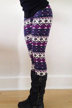 Chic Geometrical Print Color Block Skinny Leggings For Women