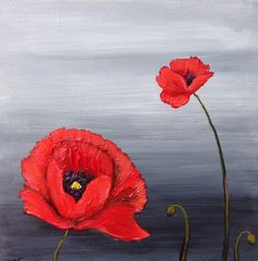 A Couple of Poppies acrylic painting by MelissaATorresArt on Etsy, $45.00