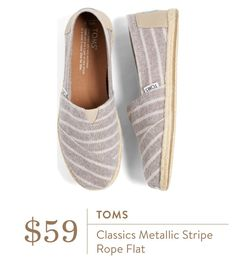 I have two pair of toms I love to wear usually have a 6.5w in toms shoes. Love the grey stripe Stitch Fix May 2016