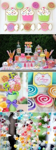 Candy land party - i like the candy hanging decorations!