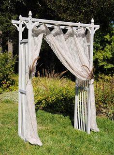 Whitewashed Garden Arbor for an outdoor wedding ceremony. #outdoorwedding #wedding