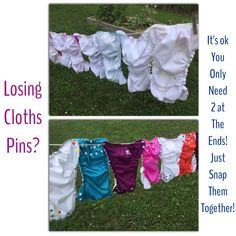Cloths line tip for cloth diapers with snaps. Great idea for hanging my AppleCheeks