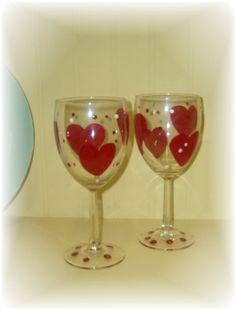 Set of 2 Hand Painted Valentine Heart Wine Glasses