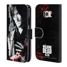 Offizielle AMC The Walking Dead Verwundete Hand Blut Brieftasche Handyhülle aus Leder für Samsung Galaxy S6