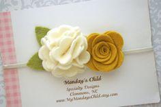 Fieltro Flores corona, Bebé flor corona, diadema flor fieltro, venda del bebé…                                                                                                                                                     Plus