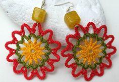 Crochet earring jewelry -Handmade fashion earrings - Pink green and yellow…