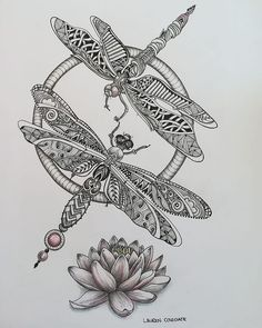 Dragonflies #zentangle inspired #zenart #zentangleinspiredart #drawing #zendoodle